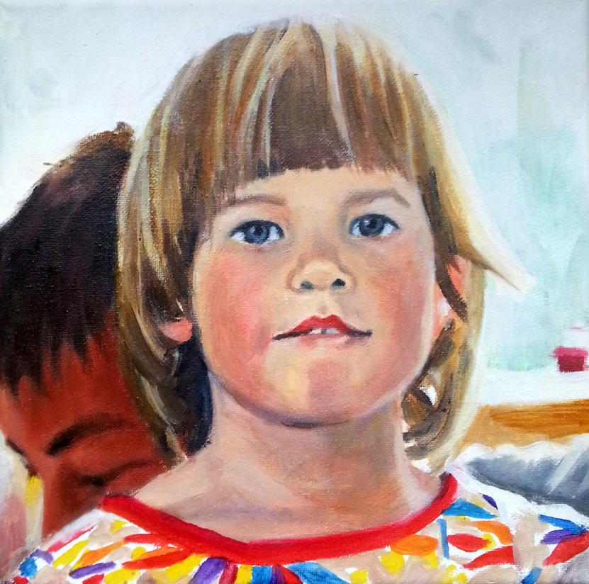 """""""Matilda"""", 2013 von henrieke ribbe. öl auf leonwand, 20 x 20 cm"""