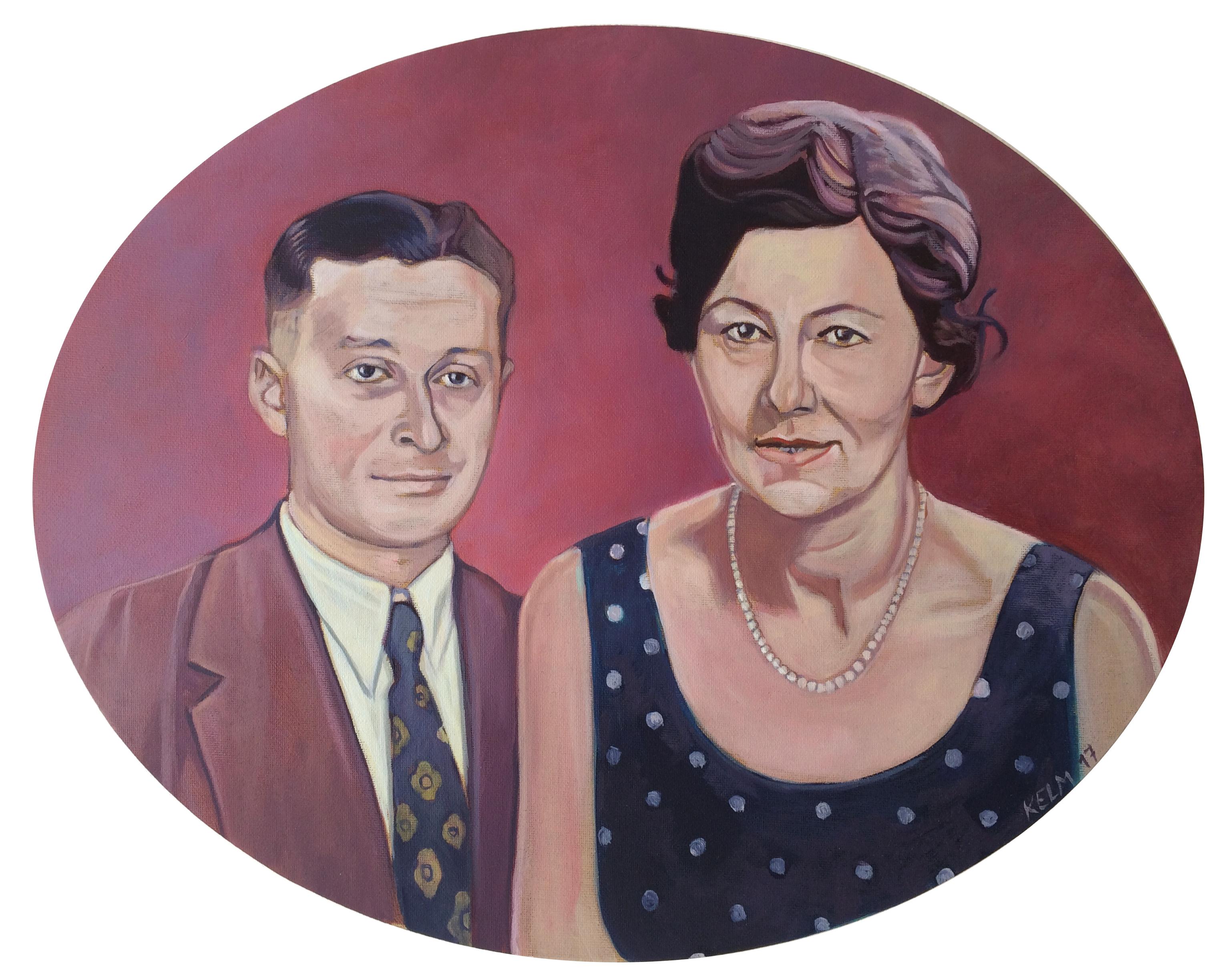 Edith und Helmuth, 2017, Öl auf ovaler Leinwand, 40 x 50 cm