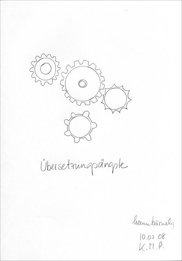 """""""Übersetzungsängste"""" aus der serie """"Therapie _ hemmtsärmelig"""", 2008 von Karin Missy Paule. bleistift auf papier, 21 x 30 cm"""