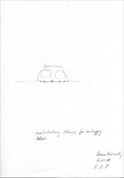 """""""masturbating stones for unhappy bodies"""" aus der serie """"Therapie _ hemmtsärmelig"""", 2008 von Karin Missy Paule. bleistift auf papier, 21 x 30 cm"""