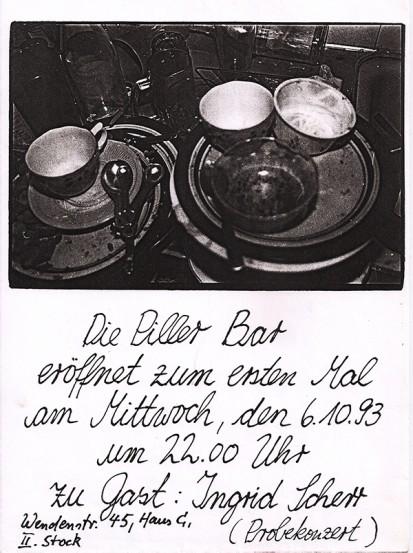 erste Pillerbar mit Ingrid Scherr, 6.10.93
