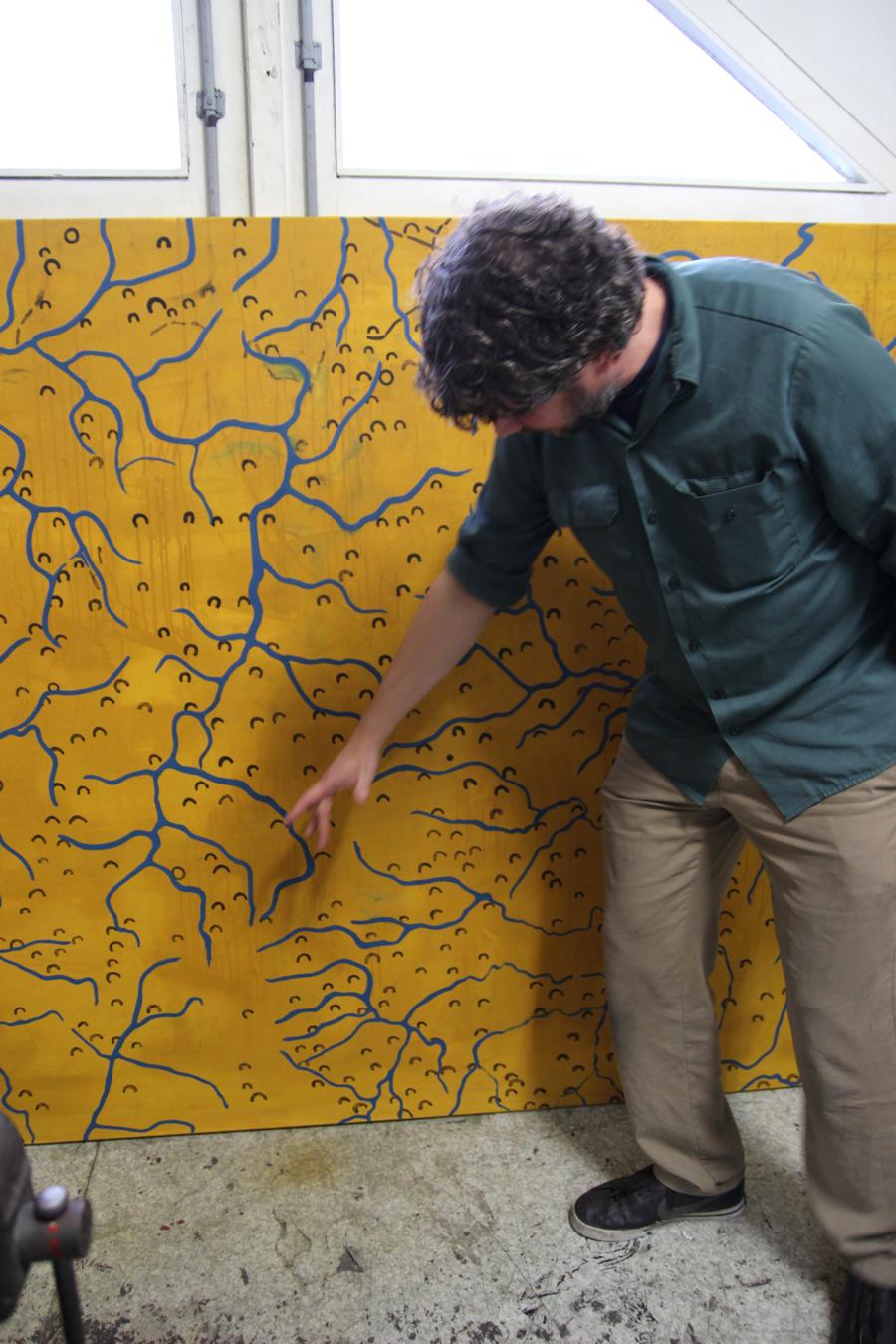 """basierend auf karten vom genzgebiet kongo-uganda. """"das istlandschaftsmalerei von nem krisengebiet im landkartenstil."""""""