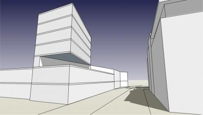von uns erstellte ansicht des geplanten EUROLAND-neubaus vom hafentor ecke johannisbollwerk aus