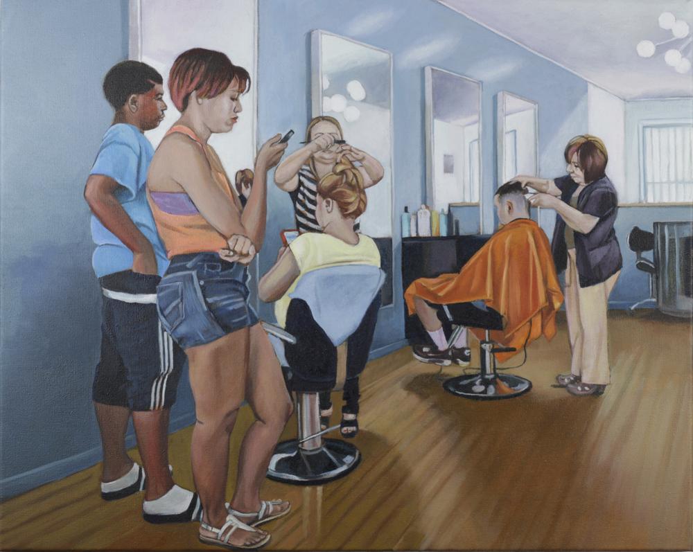 im barber shop, 2015, öl auf leinwand, 40 x 50 cm