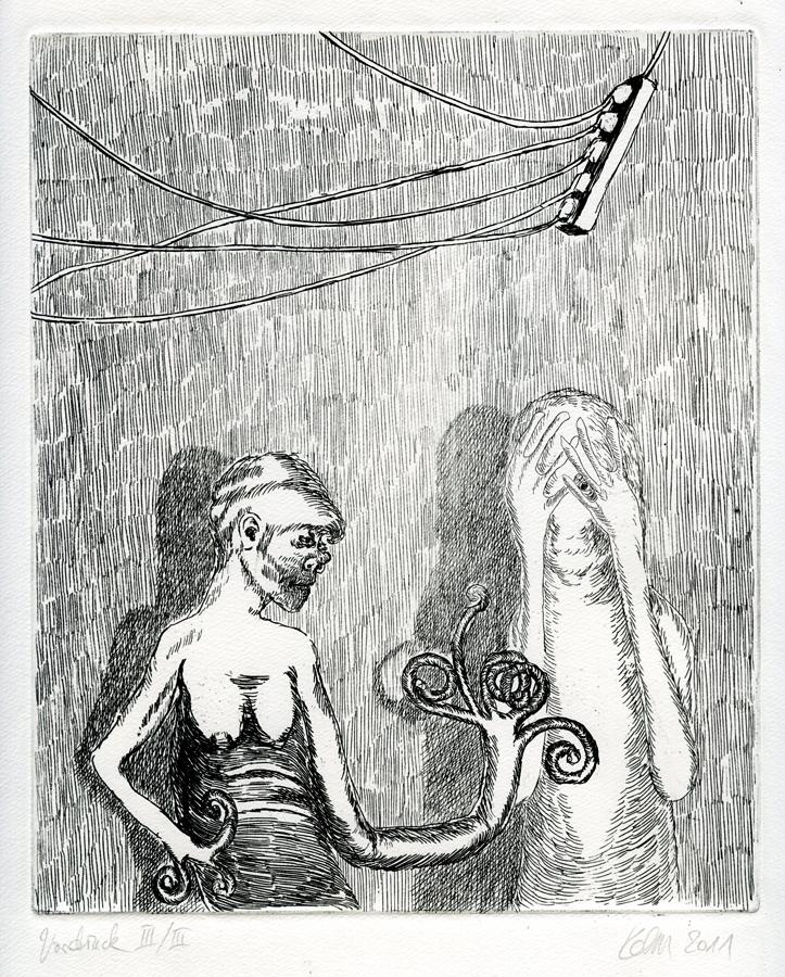 Da hilft nur cremen, cremen, cremen, 2011. 20 x 24 cm. Ätzradierung. Auflage: 20