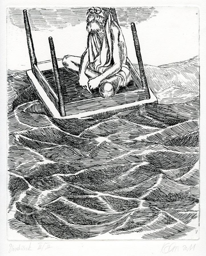 Verwandter ersten Grades auf See, 2011. 20 x 24 cm. Ätzradierung. Auflage: 20