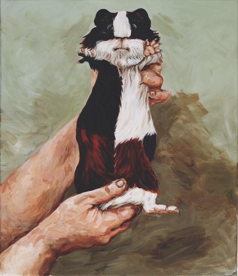 Die afganische Meerschweinchenhändlerin, 1999. 65 x 45 cm, Acryl auf Leinwand